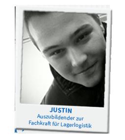 Justin, Auszubildender zur Fachkraft für Lagerlogistik, stellt sich vor.